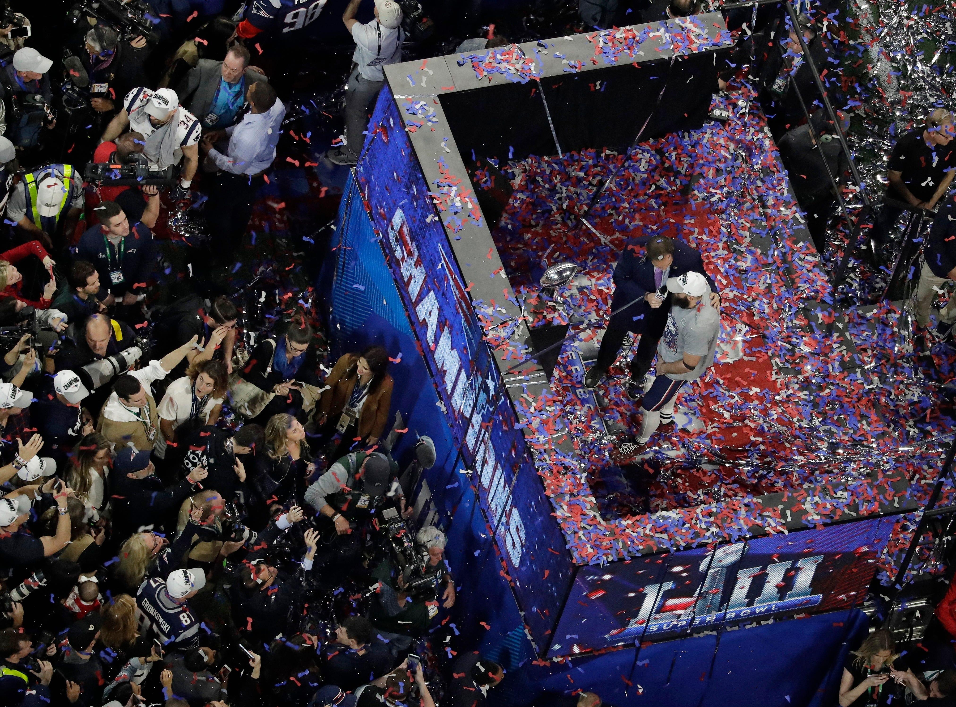 New England Patriots' Julian Edelman is interviewed after NFL Super Bowl 53.