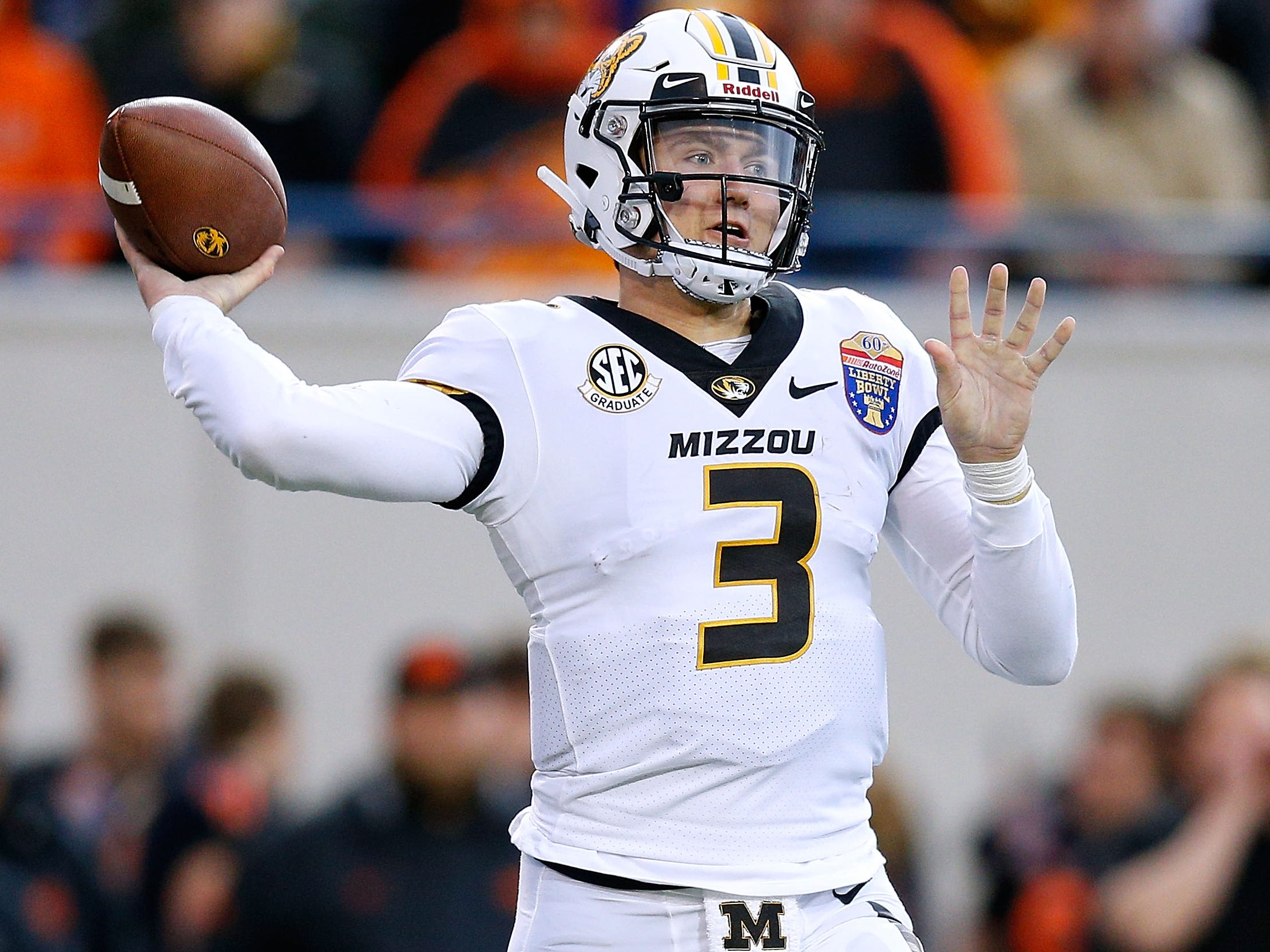 10. Denver Broncos — Drew Lock, QB, Missouri: Case Keenum's two-year contract, signed last offseason, implied he was always a stopgap for John Elway. Lock shined at the Senior Bowl after wrapping up a solid career at Missouri. He completed a personal-best 62.9 percent of his throws in 2018, with 28 touchdowns to eight interceptions.