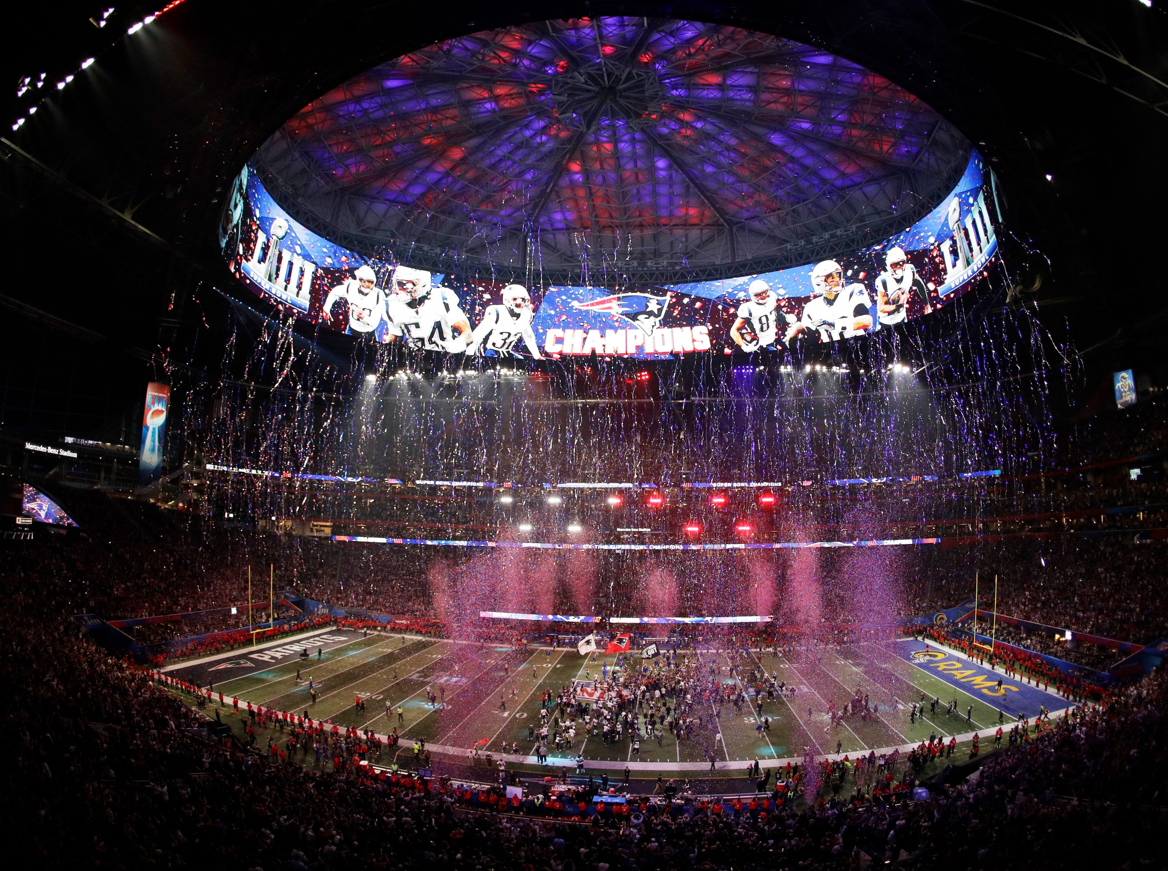 The New England Patriots celebrate after the NFL Super Bowl 53 football game against the Los Angeles Rams.