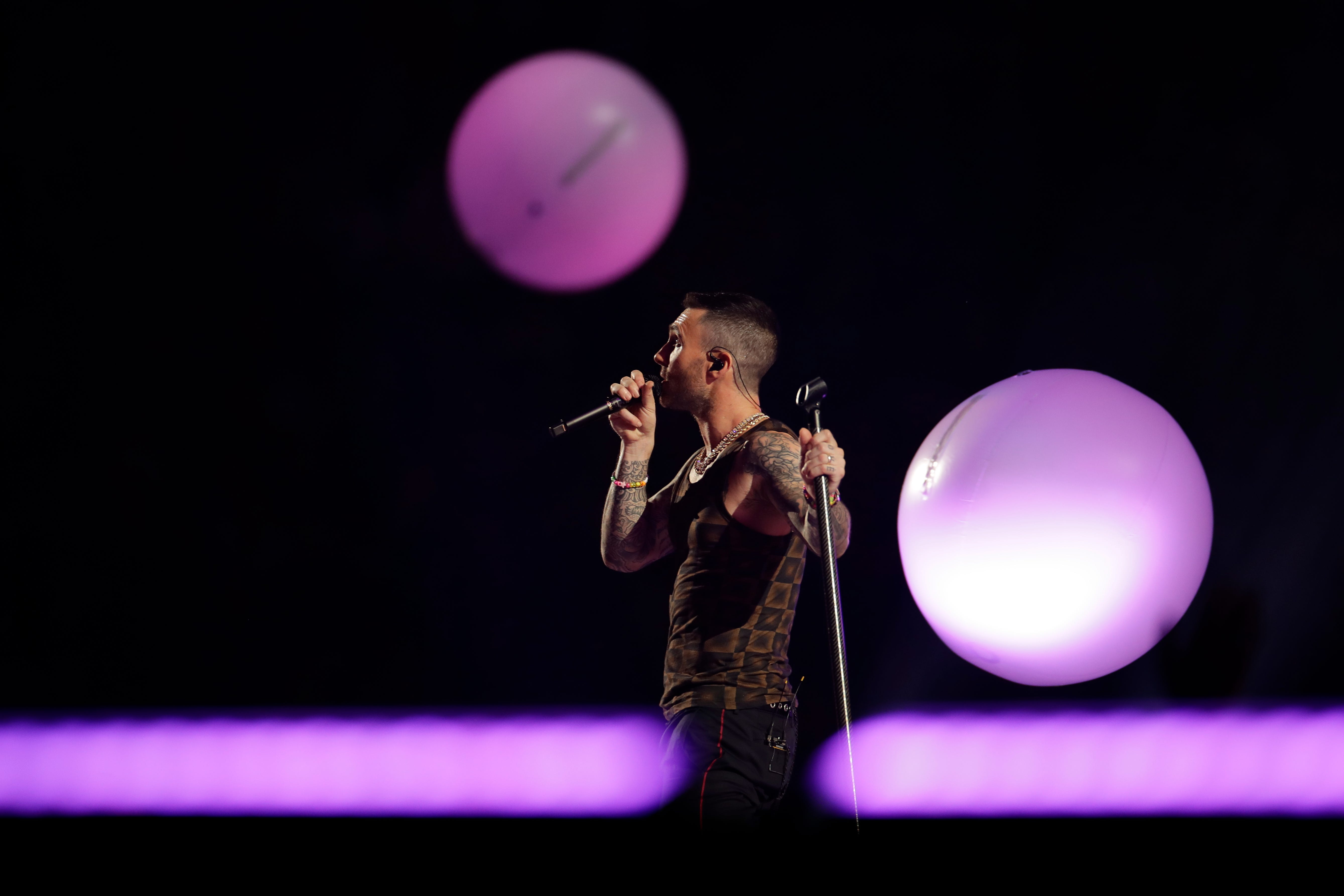 Adam Levine of Maroon 5 performs during halftime of the  Super Bowl.