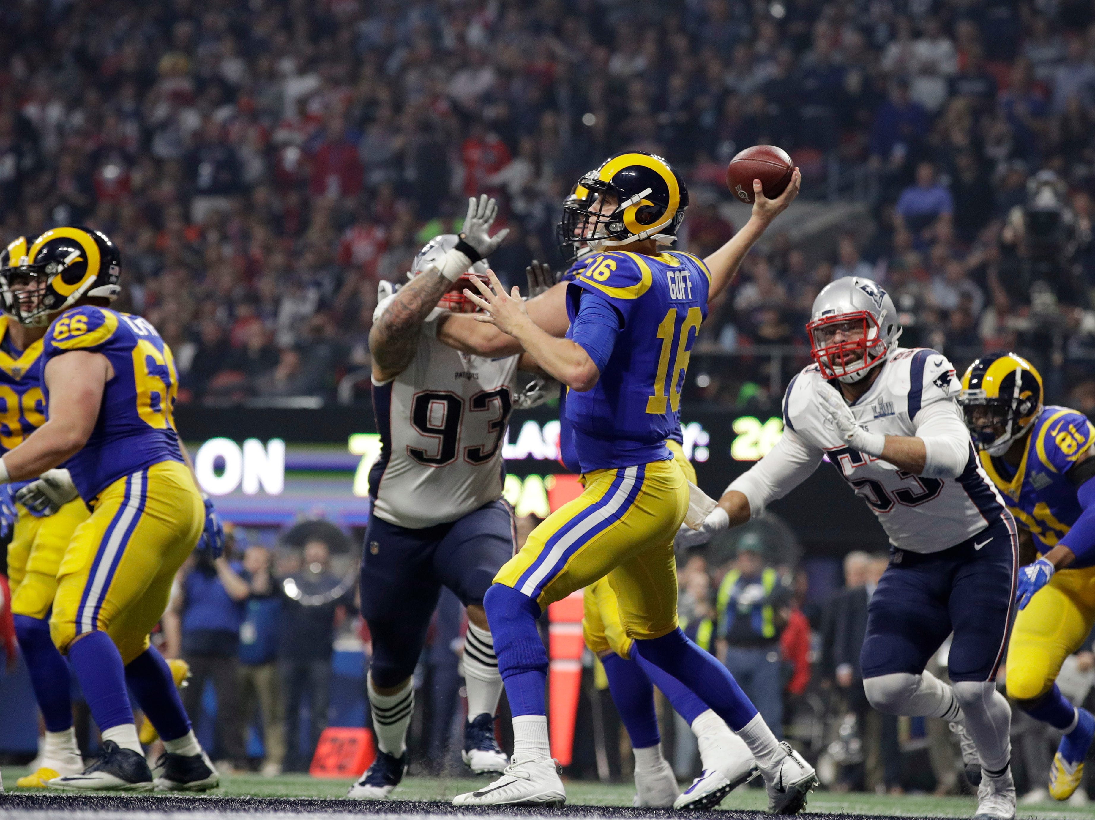 Los Angeles Rams' Jared Goff (16) throws during the second half.