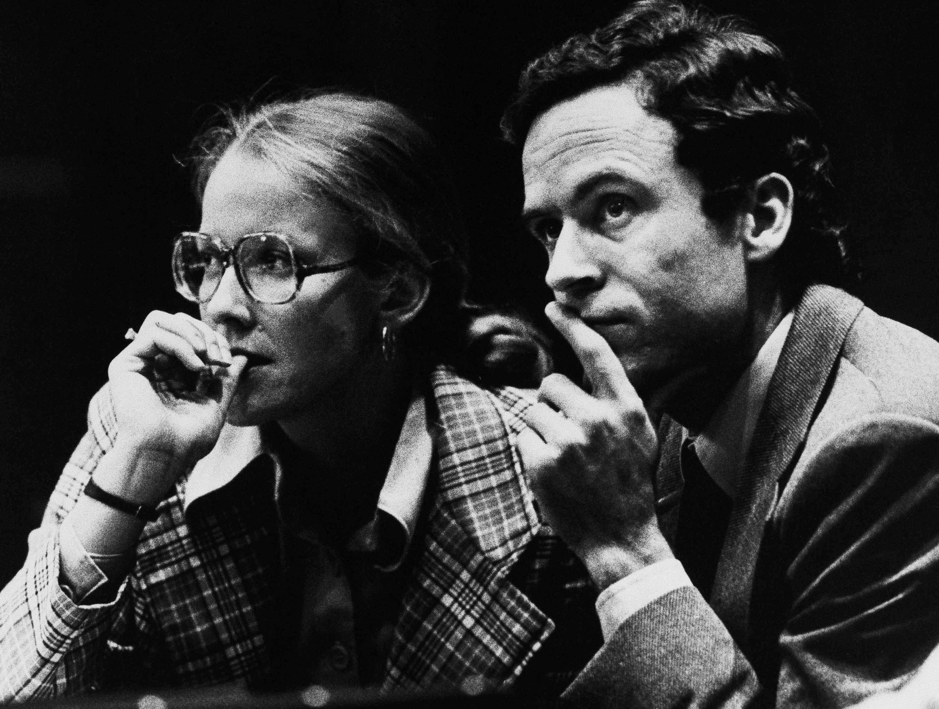Theodore Bundy and his attorney Margaret Good wait for the jury to read the verdict in his pre-sentencing hearings, July 31, 1979 in Miami, following his conviction for the murders of two Florida State sorority sisters in 1978.  The jury returned with a death sentence which will be decided on by Judge Edward Cowart when he makes his sentencing.