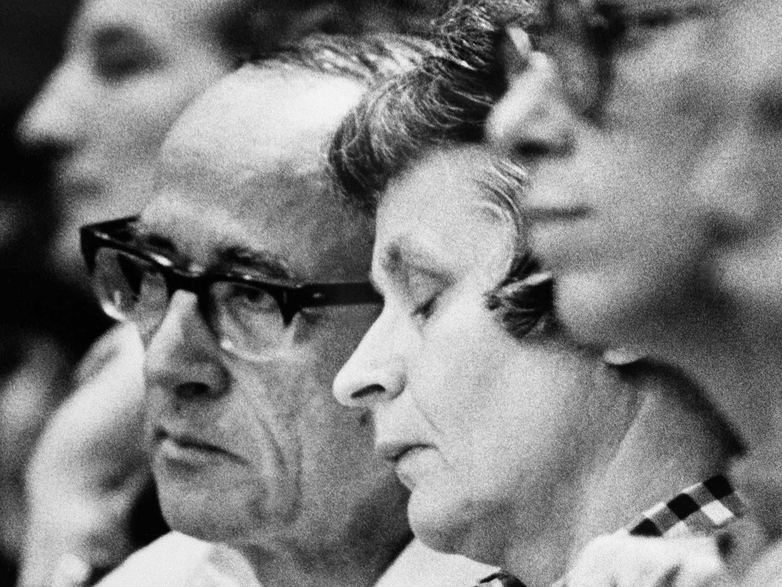 Theodore Bundy's mother Louise, right, and his stepfather John react to Judge Edward Cowart's statements, July 31, 1979, as he imposed the death sentence in Miami for their son in the murders of two Chi Omega sorority sisters in 1978.