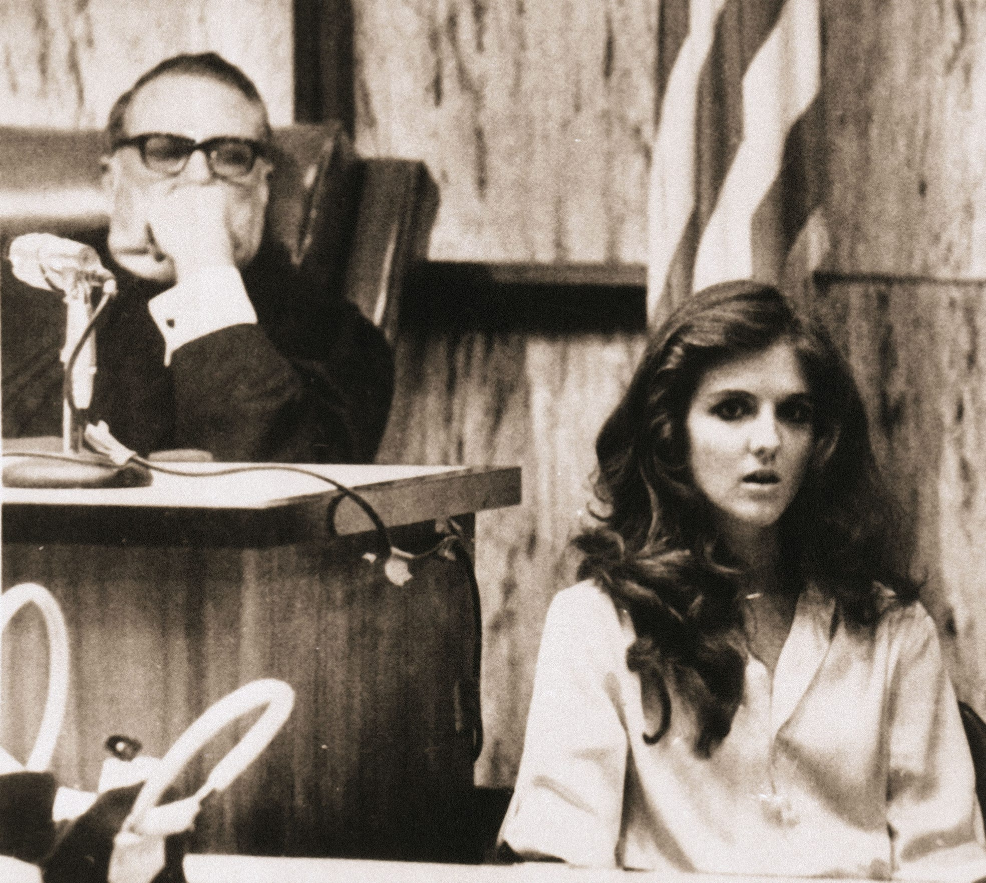 Carol DaRonch testifies at a pre-sentencing hearing for convicted murder Ted Bundy as Judge Edward Cowart listens, July 28, 1979, in Miami.  Bundy was convicted of kidnapping DaRonch from a Salt Lake City suburb in 1974.