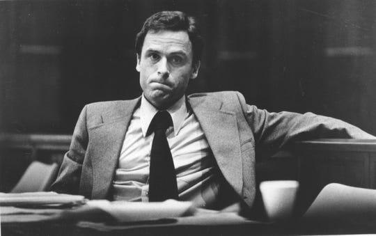 Accused murderer Theodore Bundy stares out at the photographer during the second day of jury selection in his murder trial in Miami, Fla., on June 27, 1979.  Bundy is accused in the bludgeoning deaths of two Chi Omega sorority sisters in Tallahassee, Jan. 15, 1978.