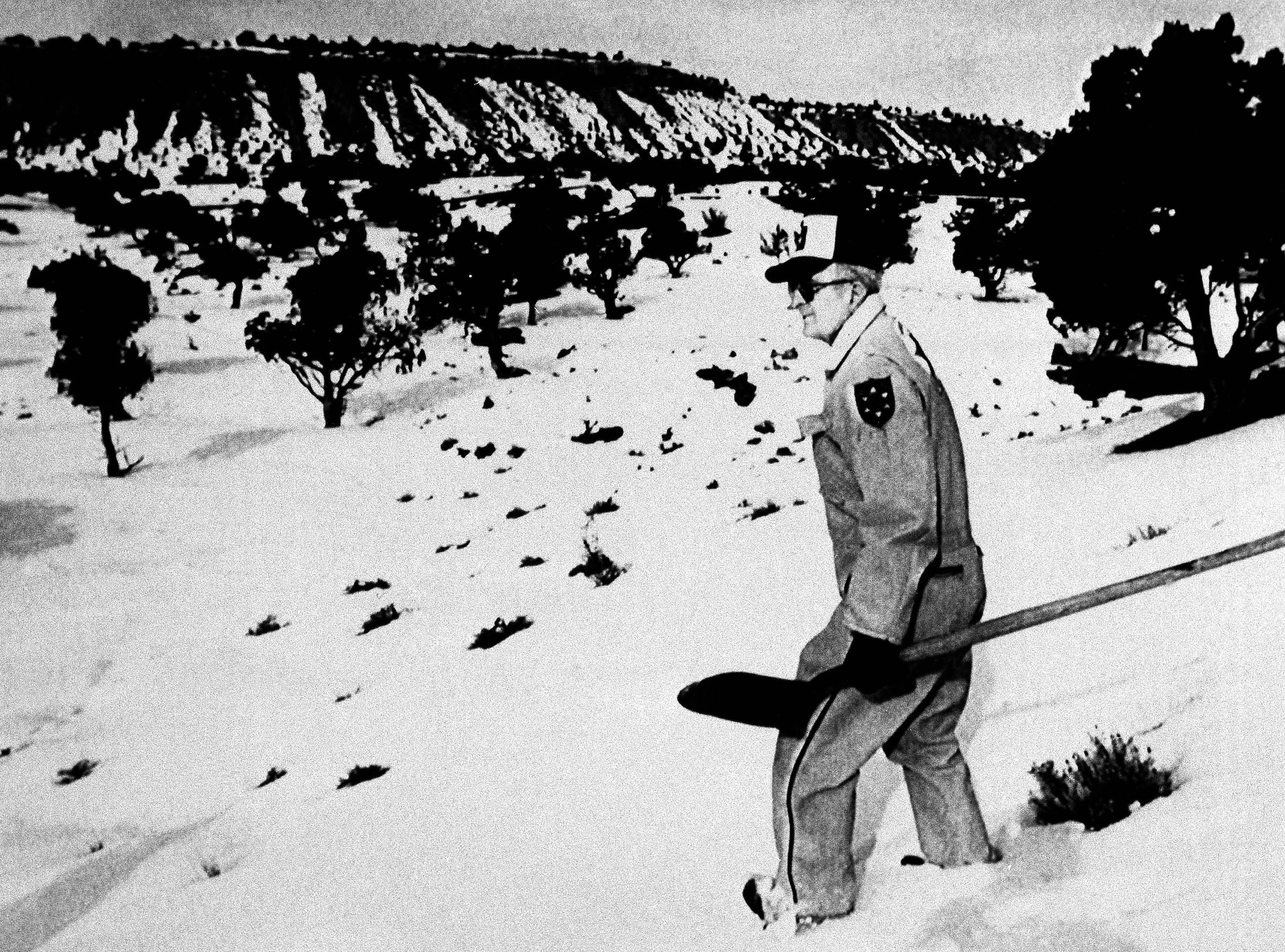 Jim Simone of the Carbon County Search and Rescue team sets out near Price, Utah, Jan. 28, 1989, in search of the remains of 15-year-old Sue Curtis, whose grave Ted Bundy described less than an hour before he was executed Tuesday.  Ms. Curtis disappeared from Brigham Young University in 1975 and is believed to be one of at least 23 murders Bundy confessed to in Utah, Idaho, Washington and Colorado.