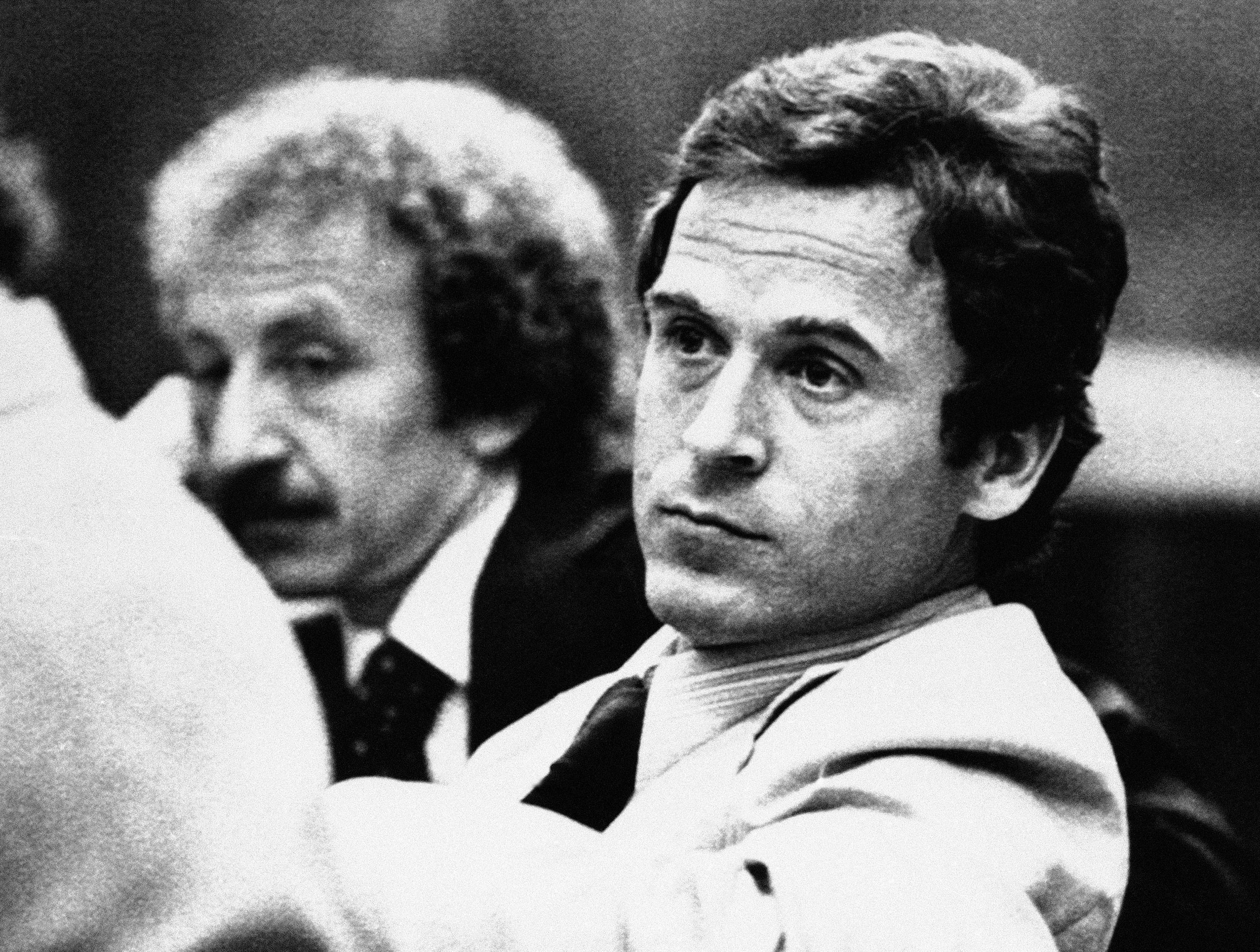 Ted Bundy leans back in his chair in the courtroom before his trial in Tallahassee, Fla. One of the most notorious serial killers in American history, Bundy is believed to have killed at least 30 young women across the United States in the 1970s. Bundy was one of the hundreds of fugitives who have appeared on the FBI's Ten Most Wanted Fugitives list.