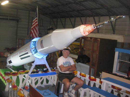 Stefan Geisel designed the German American Social Club's float for the 2019 Edison Festival of Light Grand Parade. It salutes the Apollo 11 moon landing and German scientist Wernher von Braun.