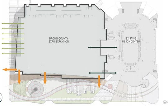 One proposal for the Brown County Expo Center would connect it directly with the Resch Center, while putting the main entrance on the building's west facade.