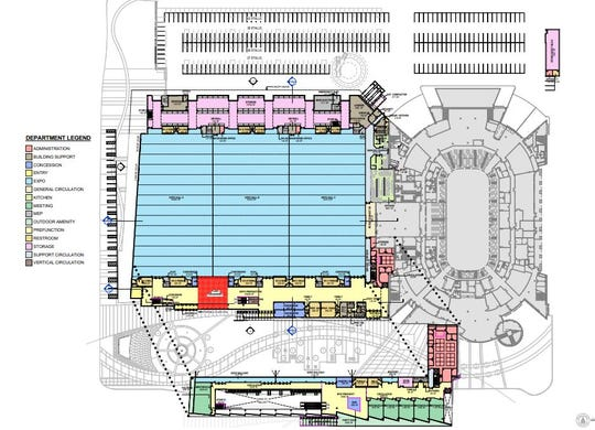 A detailed look at a proposal for the layout of the $93 million Brown County Expo Center. The building would replace the aging Brown County Veterans Memorial Arena.