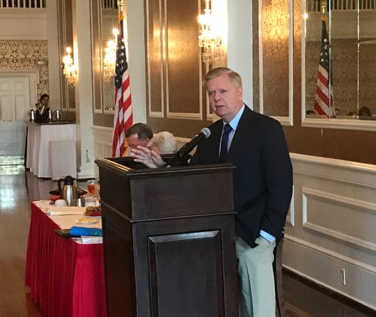 U.S. Sen. Lindsey Graham speaks at First Monday in Greenville.