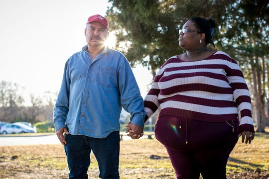Jose Ramiro-Torres, 53, and girlfriend Shalonda Patrick, 26, both of Plymouth, North Carolina stand in Raliegh after Ramiro-Torres, who is not a U.S. citizen, was sentenced on charges of voting illegally.