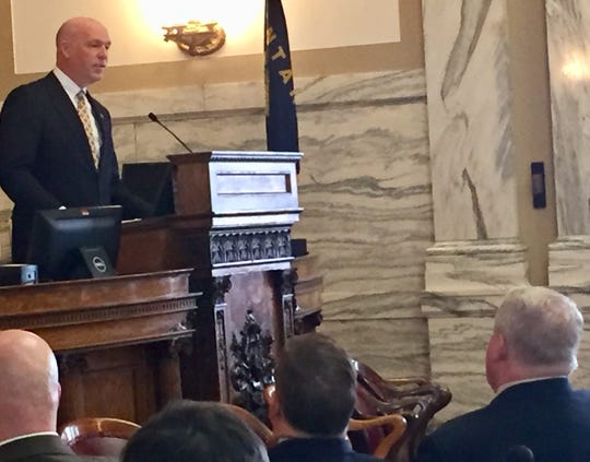 Rep. Greg Gianforte, R-Mont., speaks Monday to members of the state House of Representatives.