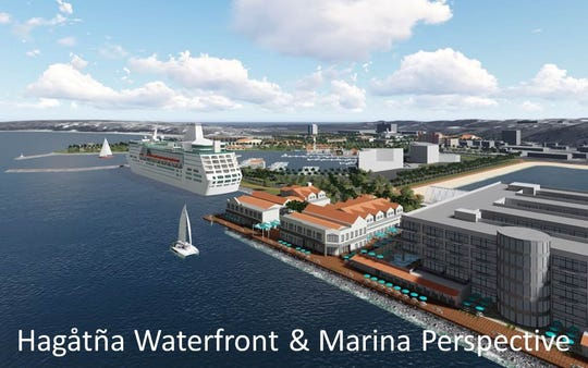 An artist rendition of the future Hagatna waterfront and marina, including a cruise ship hub, as part of the Hagatna revitalization project that is among the priorities of the Leon Guerrero-Tenorio administration.