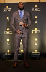 Darius Leonard of the Indianapolis Colts, winner of the award for AP defensive rookie of the year, poses in the press room at the 8th Annual NFL Honors at The Fox Theatre on Saturday, Feb. 2, 2019, in Atlanta.