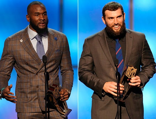 Darius Leonard (left) and Andrew Luck (right) each picked up hardware at the NFL Honors banquet during Super Bowl week in Atlanta.
