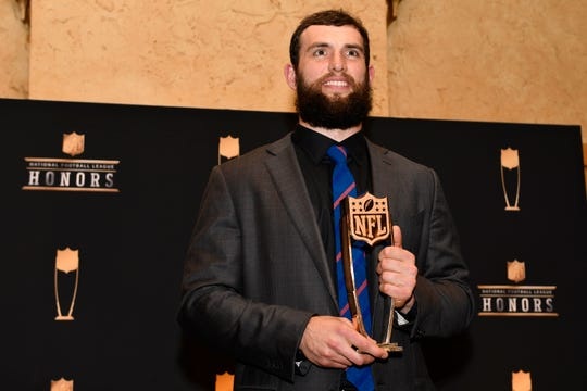 Comeback Player of the Year winner Andrew Luck of the Indianapolis Colts during media availabilities for the NFL Honors show at the Fox Theatre.