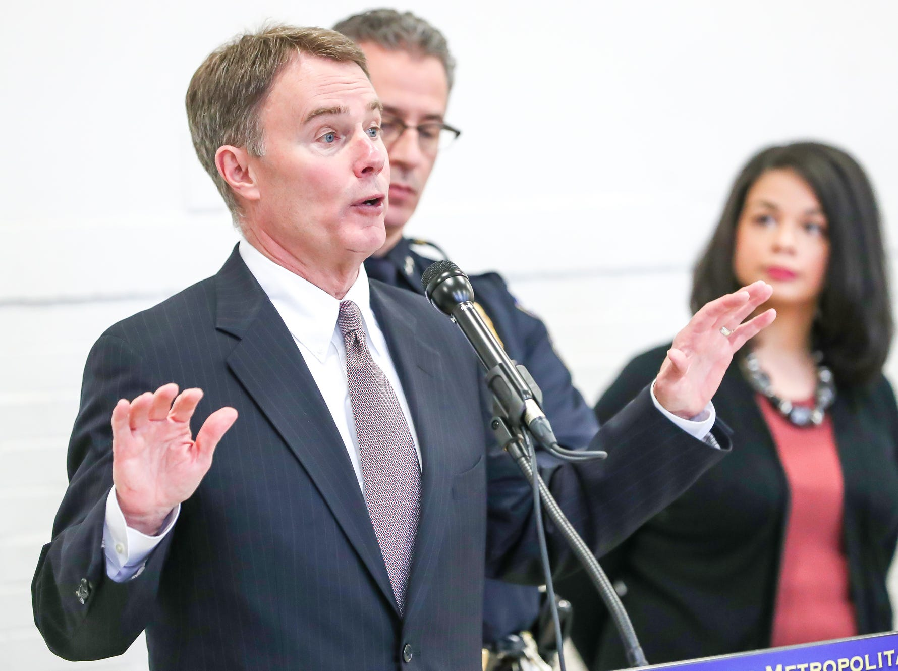 """During a press conference on Monday, at the Edna Martin Christian Center addressing a new body worn camera program, Indianapolis Mayor Joe Hogsett notes that the community will take part in the assessment. """"In this way, we can build the trust, the transparency and the tools to implement a quality body camera program."""