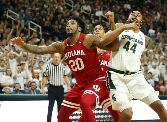 Michigan State's Nick Ward and Indiana's De'Ron Davis fight for position Feb. 2.