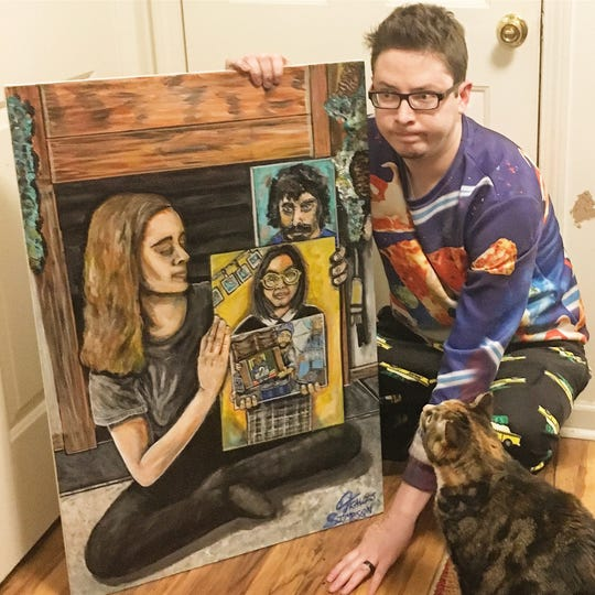 Travis Simpson started the paintception meme at midnight and finished at 7 a.m. His cat Itty Bitty helped his contribution especially beloved on Reddit.