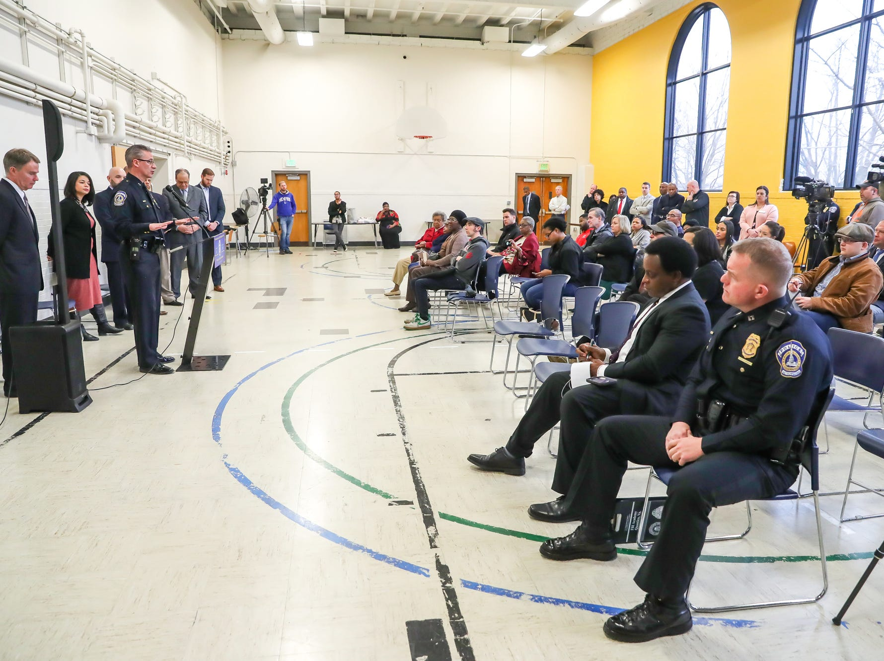 Indianapolis Metropolitan Police Department Chief Bryan Roach talks about the three areas of the city in which officers will test body worn cameras during a press conference held at the Edna Martin Christian Center in Indianapolis on Monday, Feb. 4, 2019. Beat-officers and supervisors in the North, East and Southeast districts will test the products during the trial period.