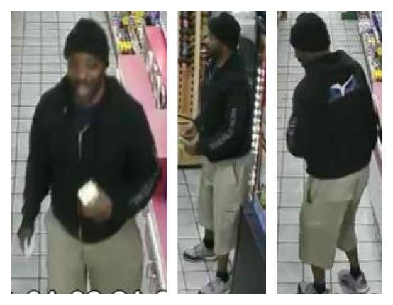 """Jackson police are searching for a person of interest in a debit card fraud and theft case. A surveillance video from a Jackson gas station shows the man, wearing a black """"World Ventures"""" hoodie, using a stolen debit card to make a purchase."""