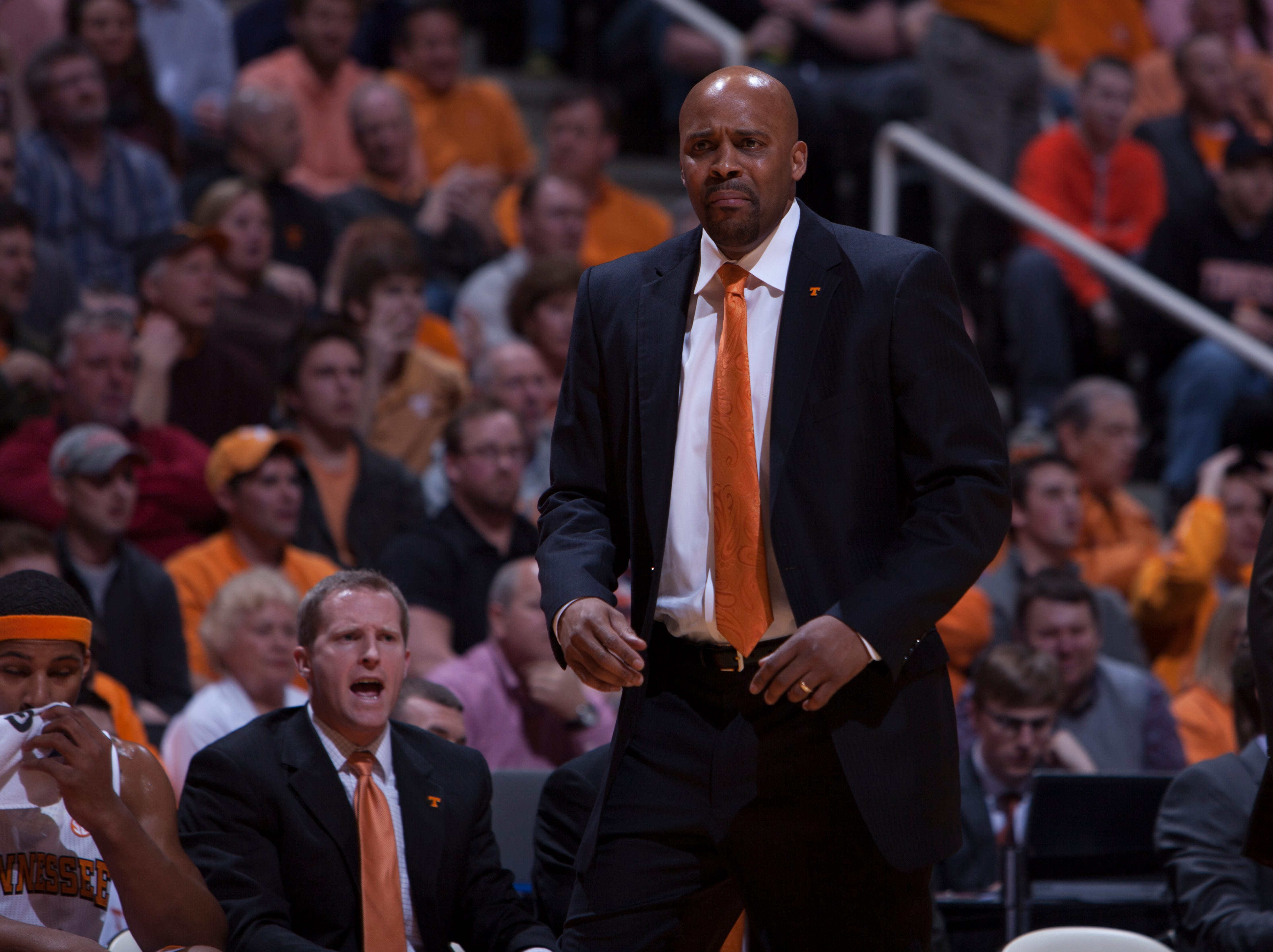 Tennessee head coach Cuonzo Martin reacts to a foul called on the Vols in the first half against Florida at Thompson-Boling Arena Tuesday, Feb. 26, 2013.