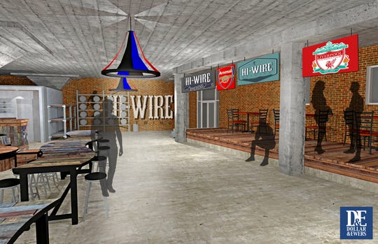 An interior rendering of Hi-Wire's planned taproom for South Knoxville.