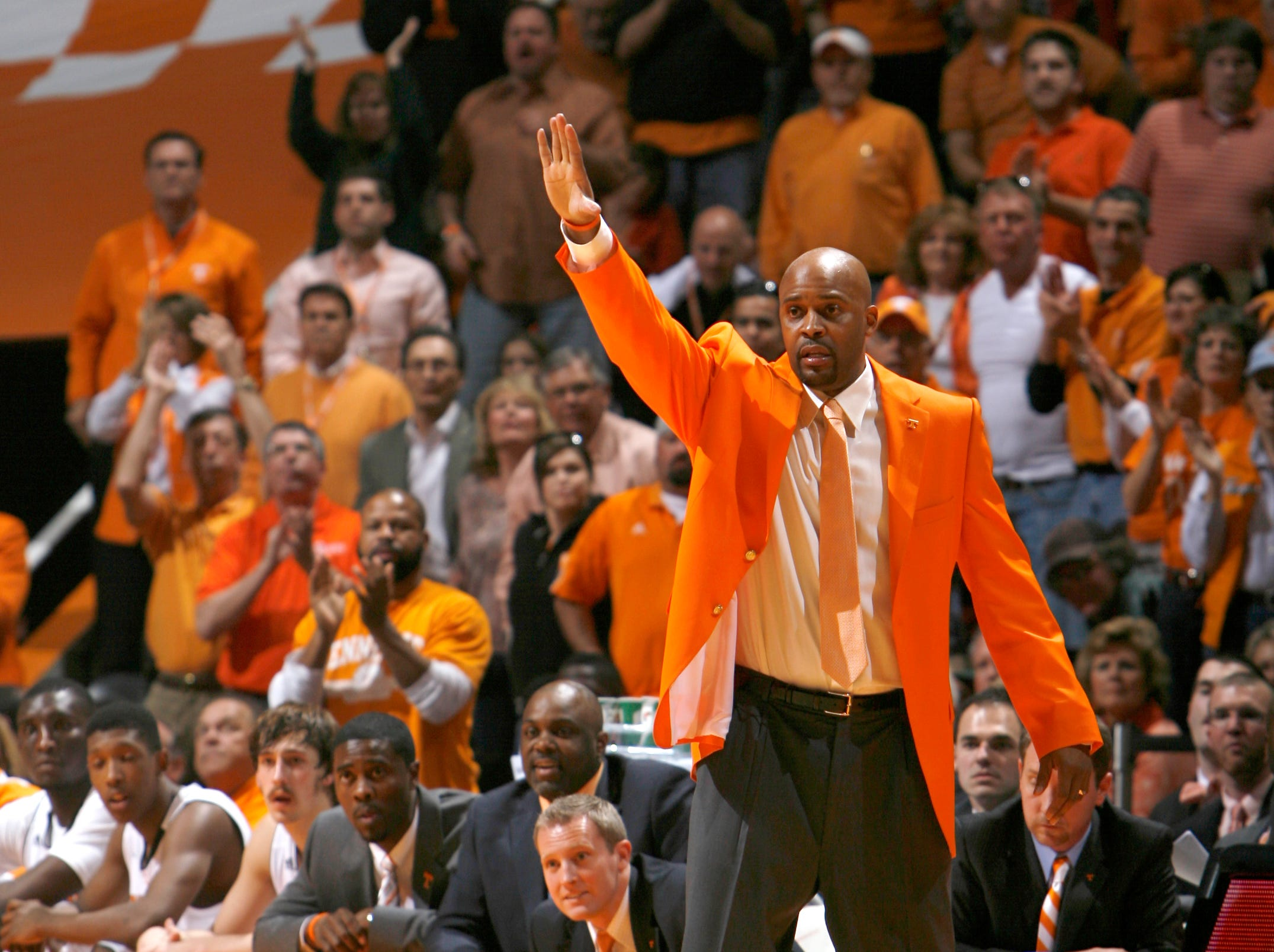 Tennessee head coach Cuonzo Martin calls to his players during the second half against Vanderbilt at Thompson-Boling Arena Saturday, March 3, 2012.  Tennessee won 68-61 over Vanderbilt.