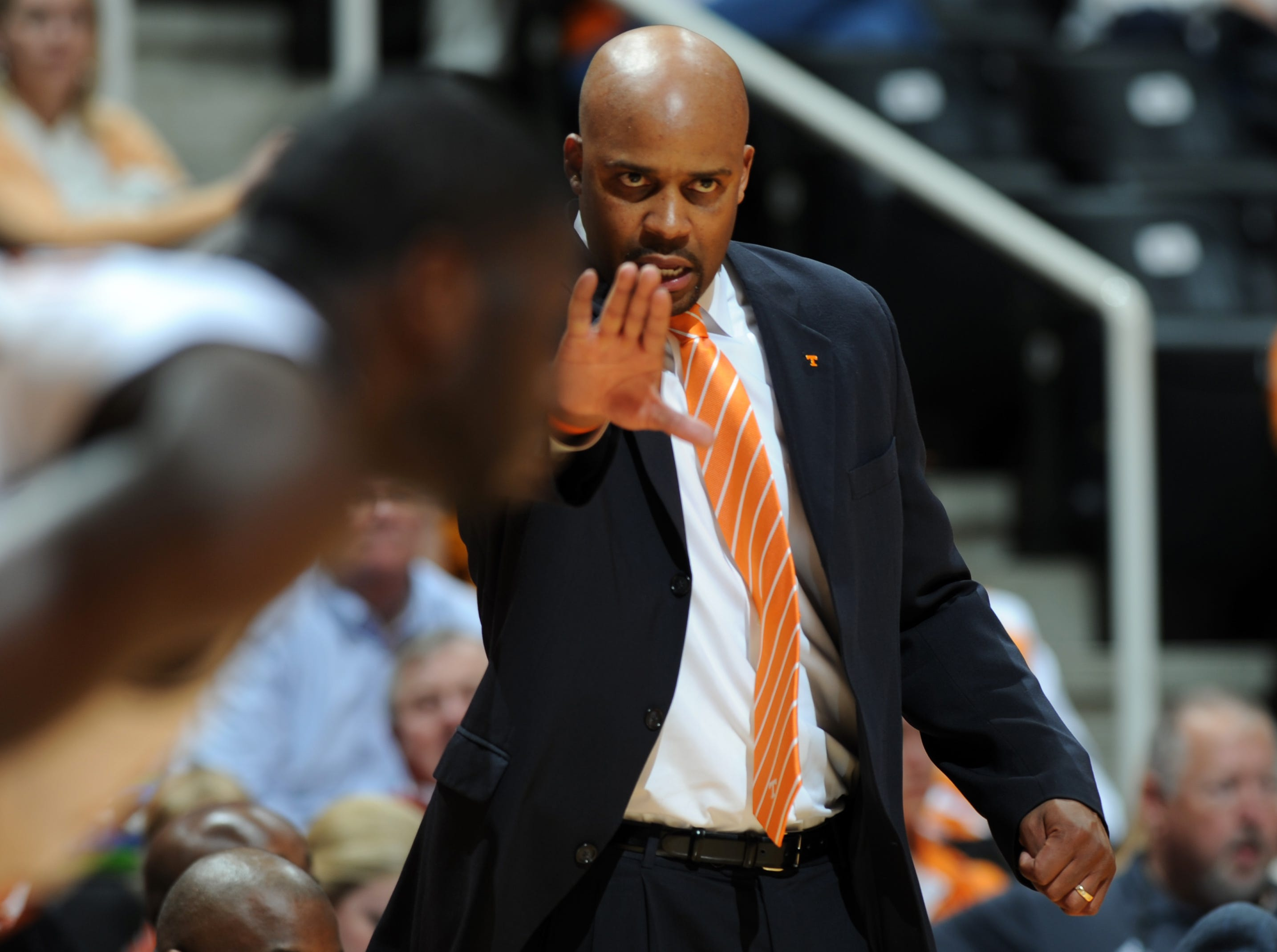 Tennessee head coach Cuonzo Martin signals to his players as they play Louisiana-Monroe at Thompson-Boling Arena Wednesday, Nov. 16, 2011.  The Vols won 85-62 over the Warhawks.