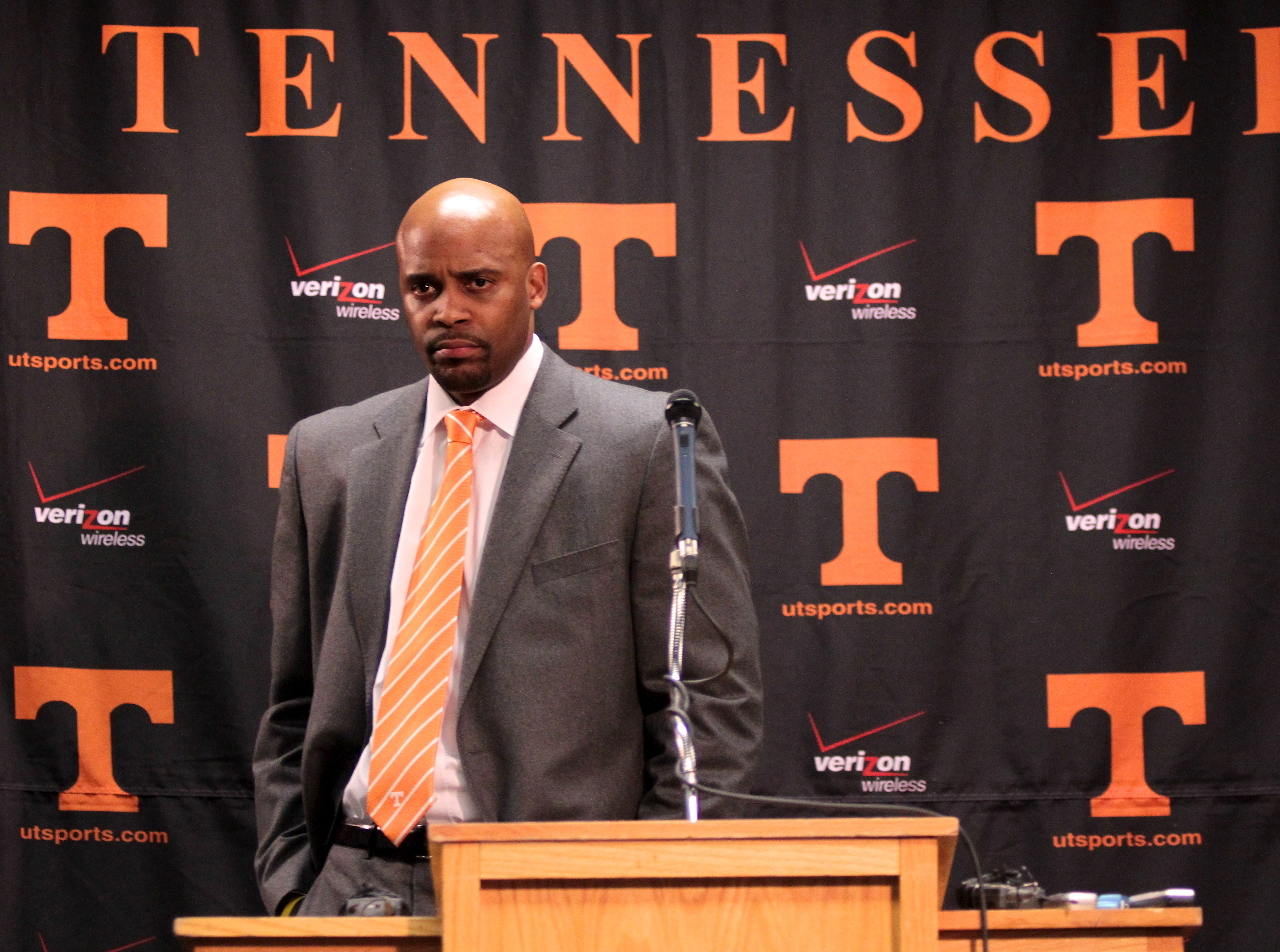 Cuonzo Martin speaks during his introduction as the new University of Tennessee men's basketball coach on Monday, March 28, 2010.