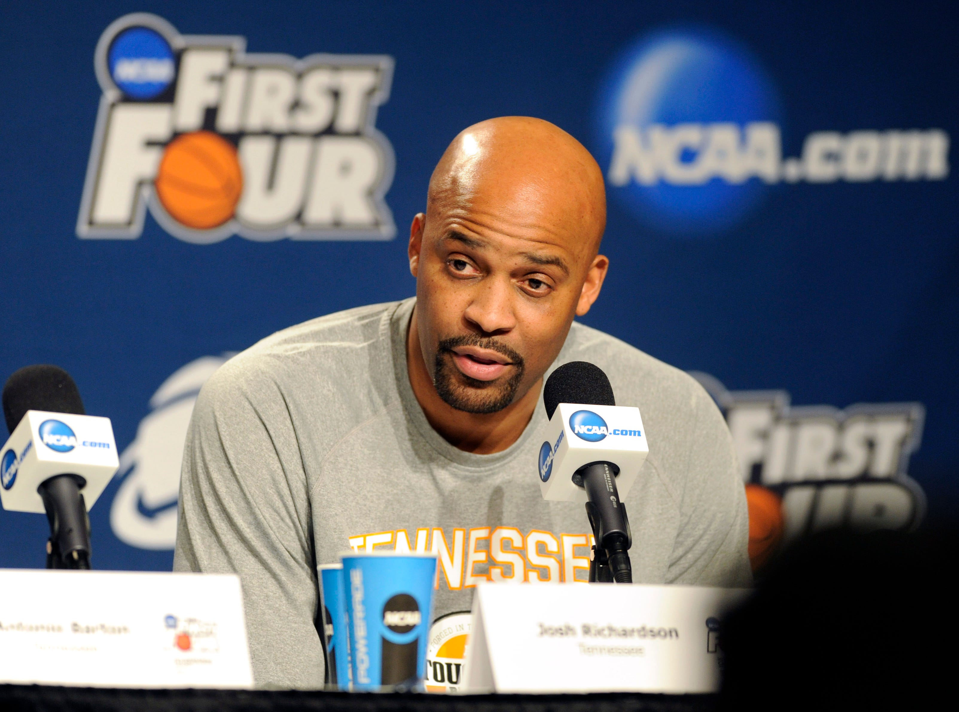 Tennessee head coach Cuonzo Martin answers questions during a press conference before the team's NCAA tournament first round game against Iowa at the University of Dayton Arena in Dayton, Ohio on Tuesday, March 18, 2014.