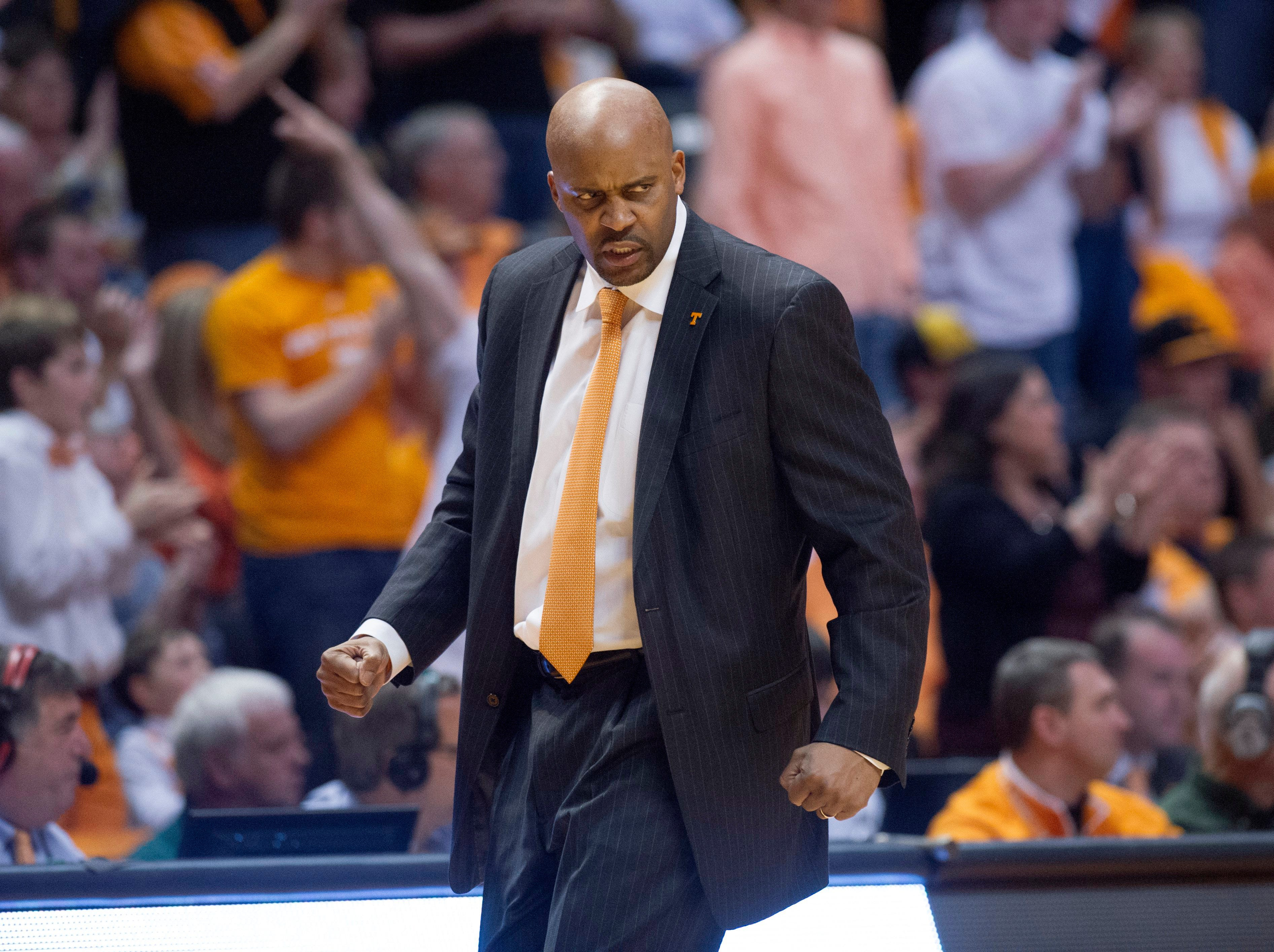 Tennessee head coach Cuonzo Martin reacts to a defensive break for the Vols as they play Missouri at Thompson-Boling Arena Saturday, Mar. 9, 2013. Tennessee won 64-62 over Missouri.