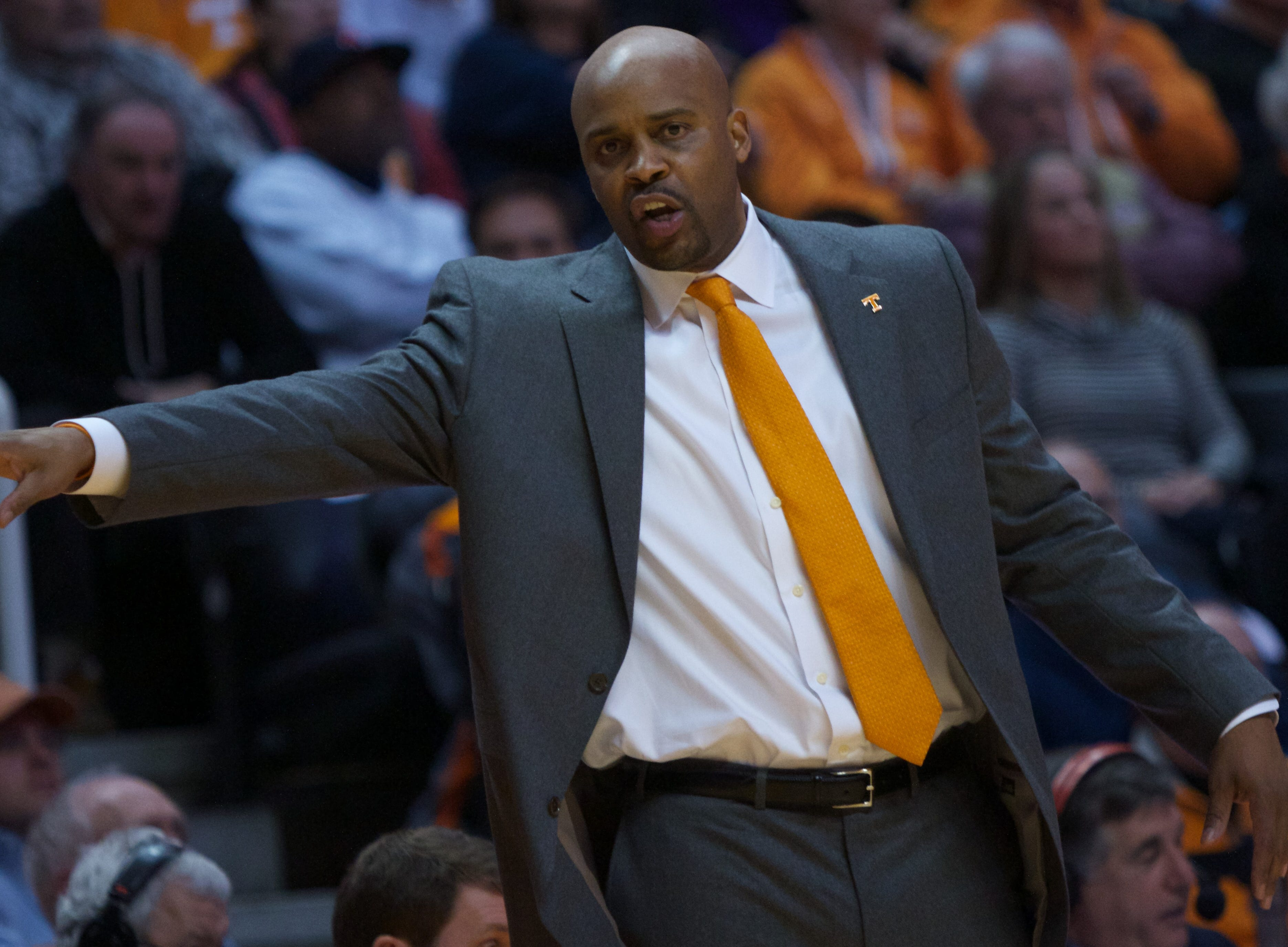 Tennessee head coach Cuonzo Martin gestures to his players in the game against Xavier in the second half of an NCAA college basketball game on Saturday, Dec. 29, 2012, in Knoxville, Tenn. Tennessee defeated Xavier 51-47.