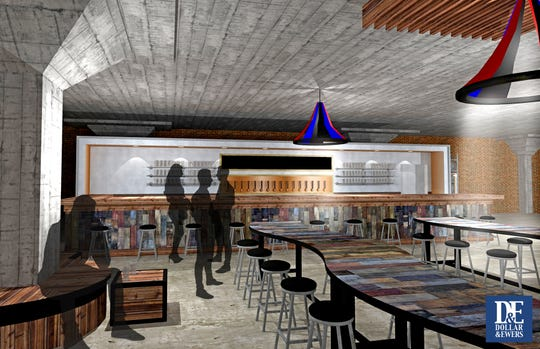 An interior rendering of Hi-Wire's planned taproom for South Knoxville. The brewery will open the space at 906 Sevier Ave. in early summer.