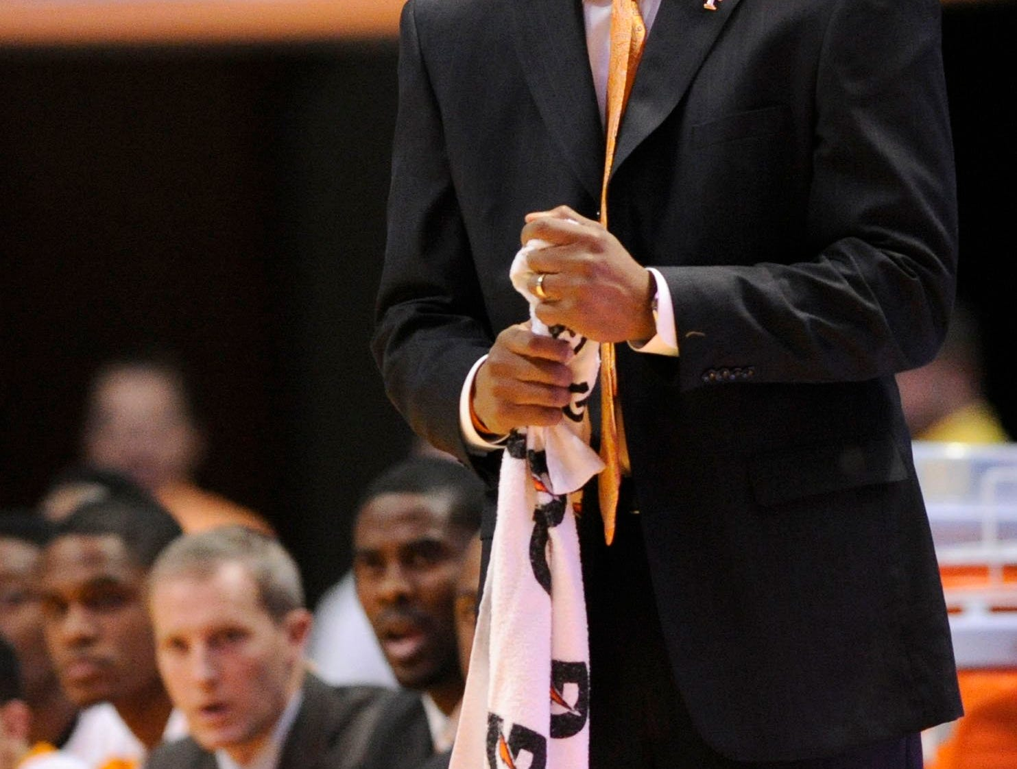 Tennessee head coach Cuonzo Martin watches the game with concern from the sideline during the first half at the Thompson-Boling Arena in Knoxville on Wednesday, Dec. 18, 2013. Tennessee lost to North Carolina State 65-68.