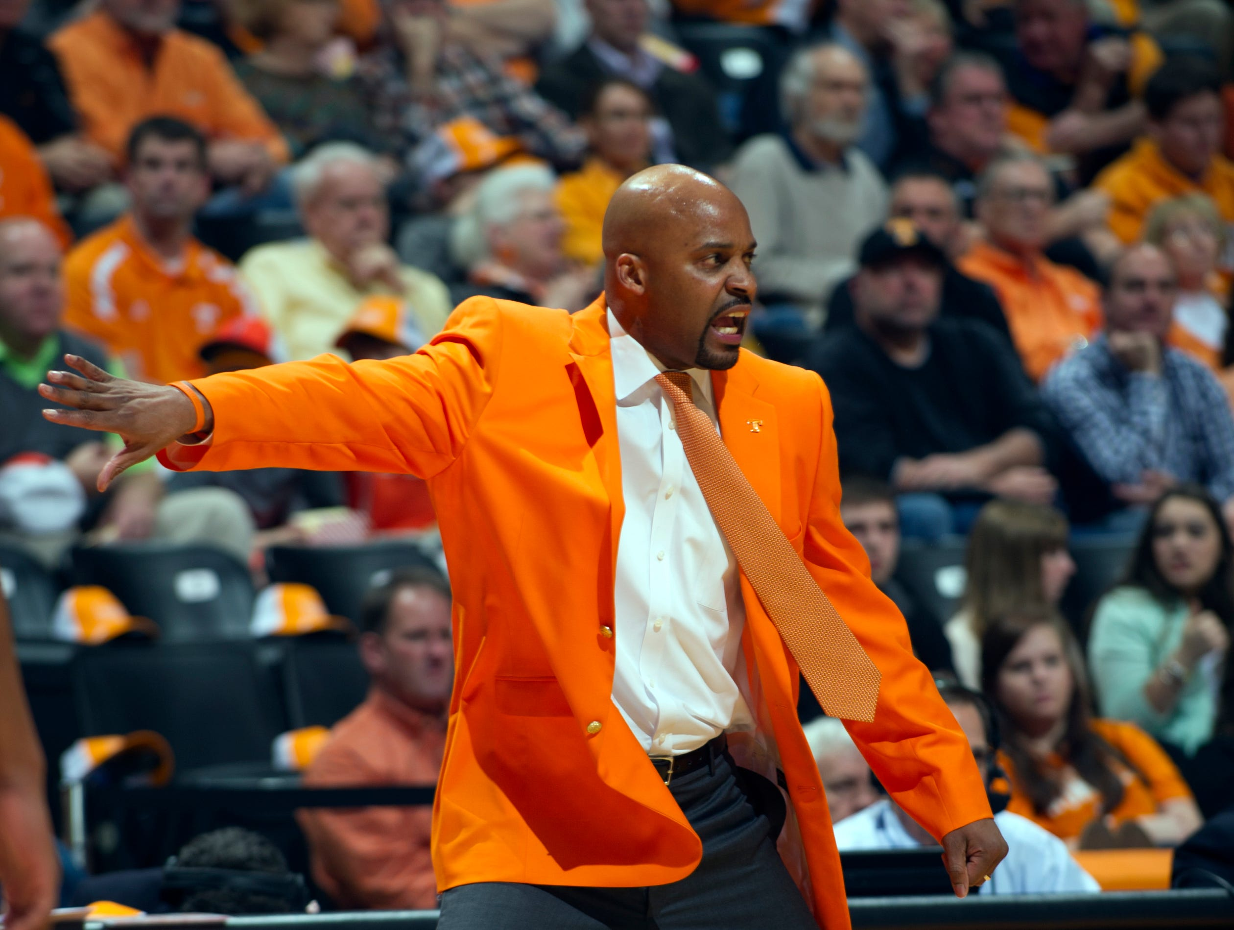Tennessee head coach Cuonzo Martin calls to his players in the first half against Vanderbilt at Thompson-Boling Arena Tuesday, Jan. 29, 2013.