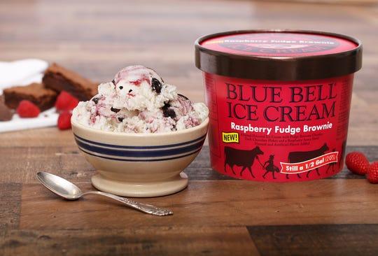 Raspberry Fudge Brownie is an almond ice cream swirled with fudge brownie chunks, dark chocolate flakes and raspberry sauce.