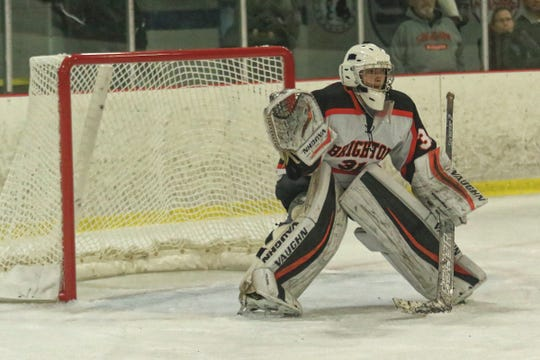 Brighton goalie Cade Groman stopped all 12 shots he faced in relief during regulation time in a 5-4 shootout loss to Bloomfield Hills Cranbrook-Kingswood.
