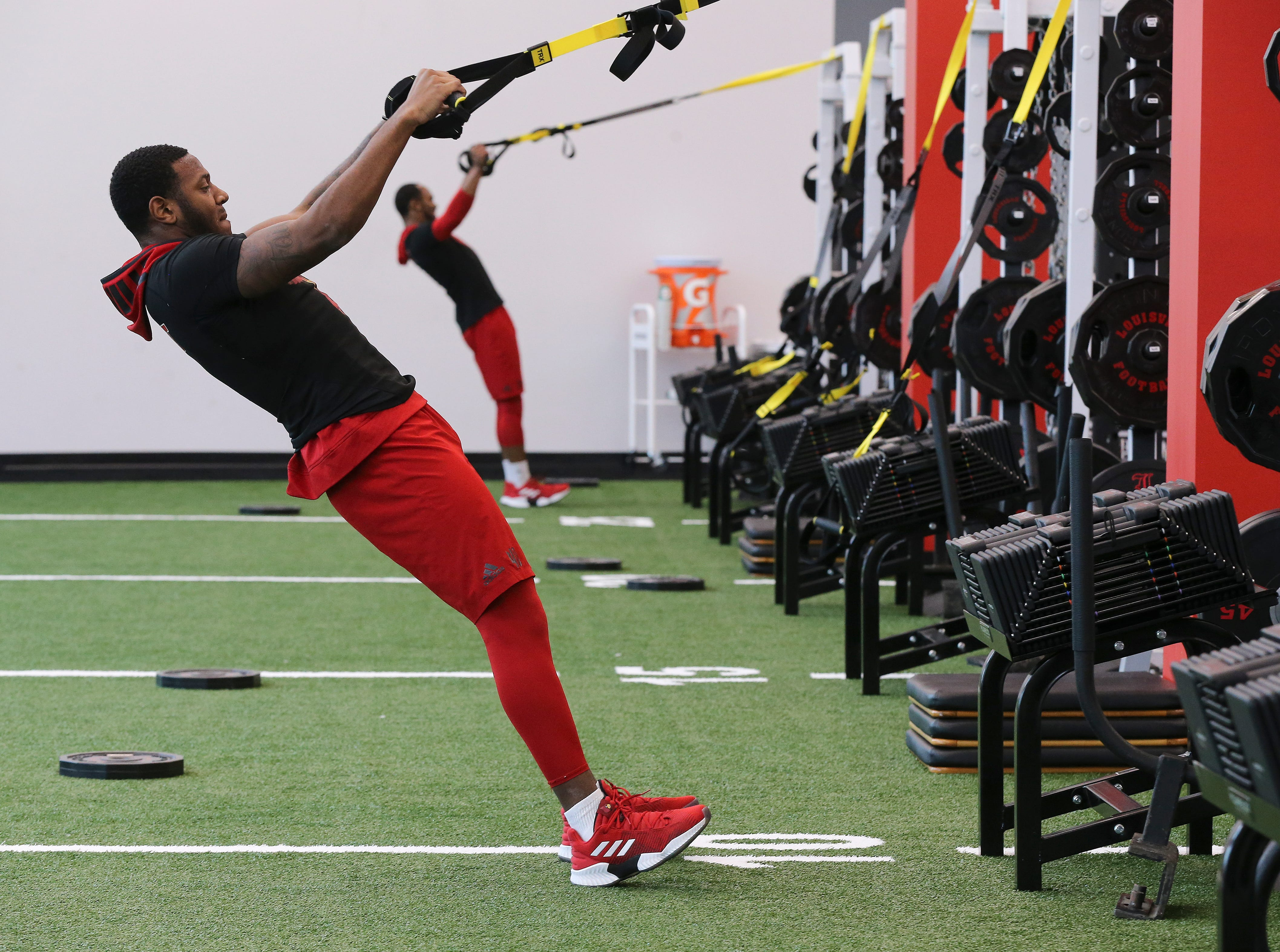 U of LÕs Kaheem Roach works out during strength and conditioning at the Schnellenberger Complex.