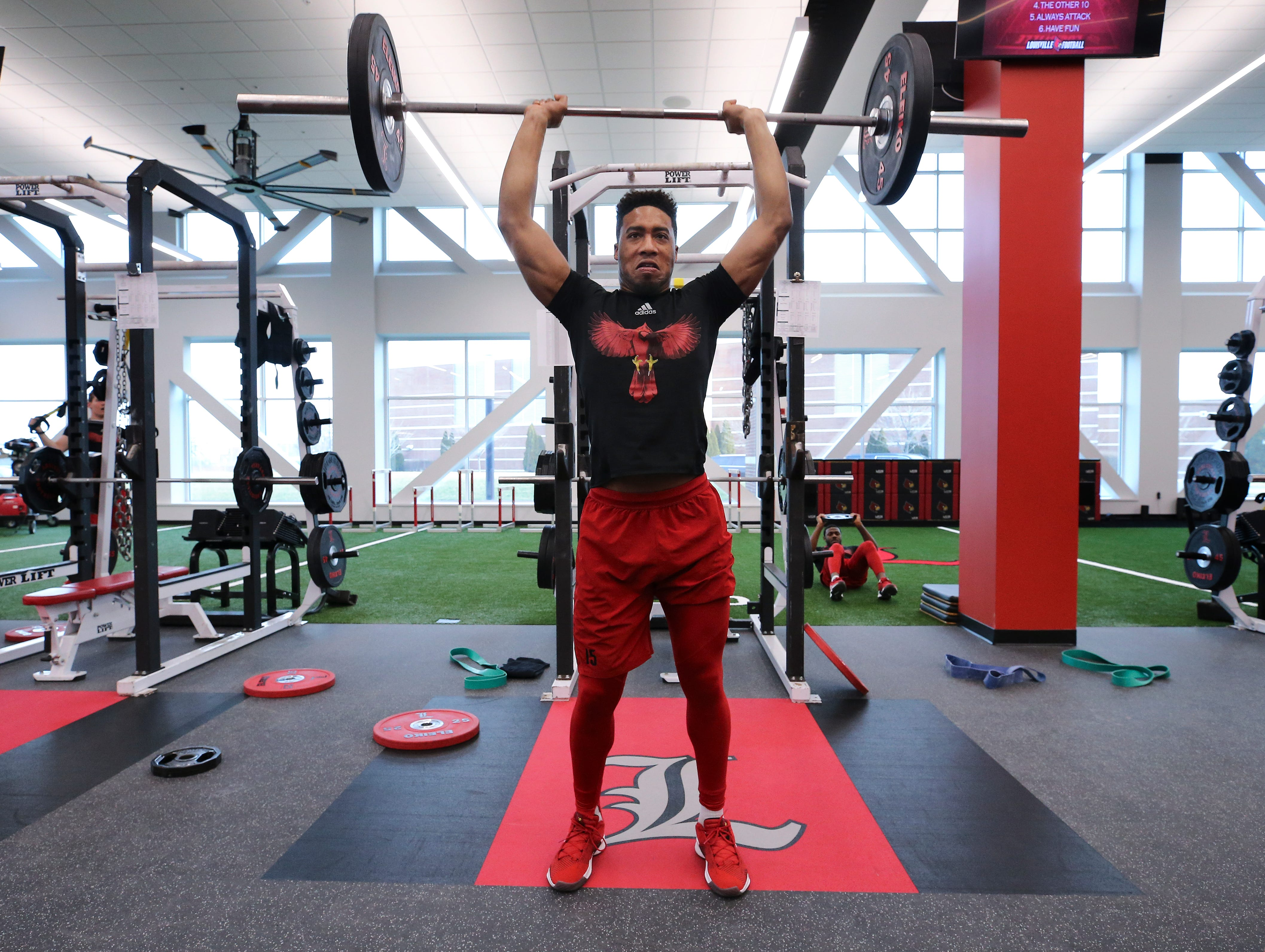 U of LÕs Quen Head works out during strength and conditioning at the Schnellenberger Complex.