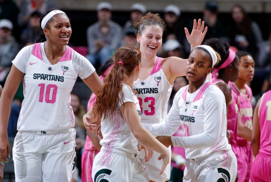 Michigan State's Sidney Cooks (10), from left, Taryn McCutcheon, Jenna Allen and Shay Colley celebrate against Purdue, Sunday, Feb. 3, 2019, in East Lansing, Mich.