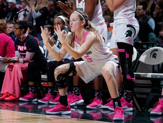 Michigan State's Claire Hendrickson celebrates on the bench after a teammate's 3-pointer against Purdue, Sunday, Feb. 3, 2019, in East Lansing, Mich.