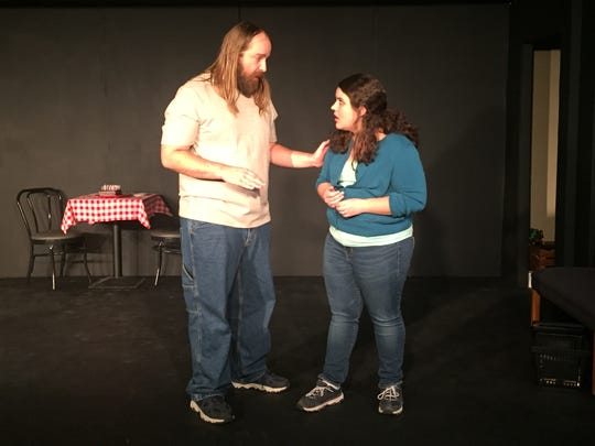 "Gregory Ashbrook II and Liana Ashbrook rehearse a scene from ""Love/Sick."""