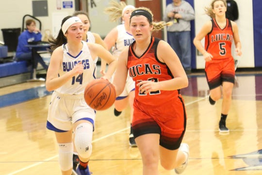 Lucas' Jessie Grover drives to the hoop in a Mid-Buckeye Conference game at Crestline on Saturday. Grover looks to lead the Lady Cubs back to the district final for the second consecutive year.