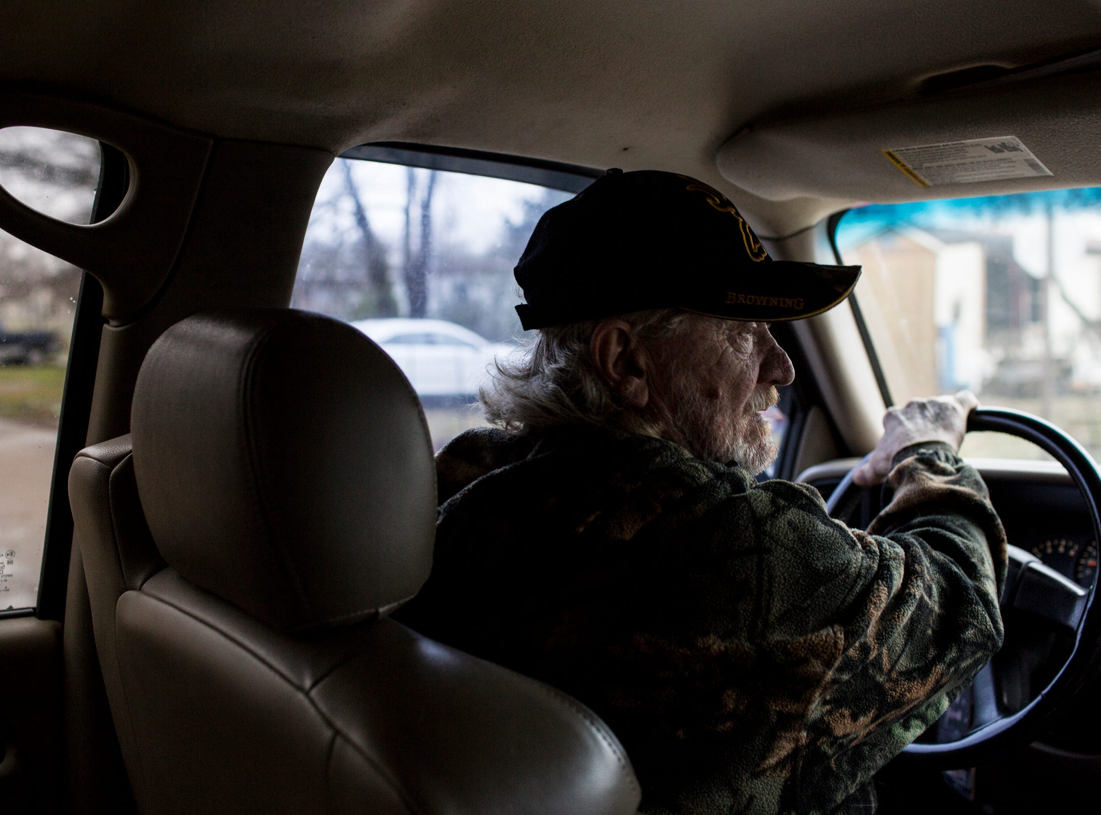 January 23, 2019 - David Carnes, a member of the Lakeshore Community Improvement Group, drives around the Lakeshore community while showing where issues with raw sewage have been seen.
