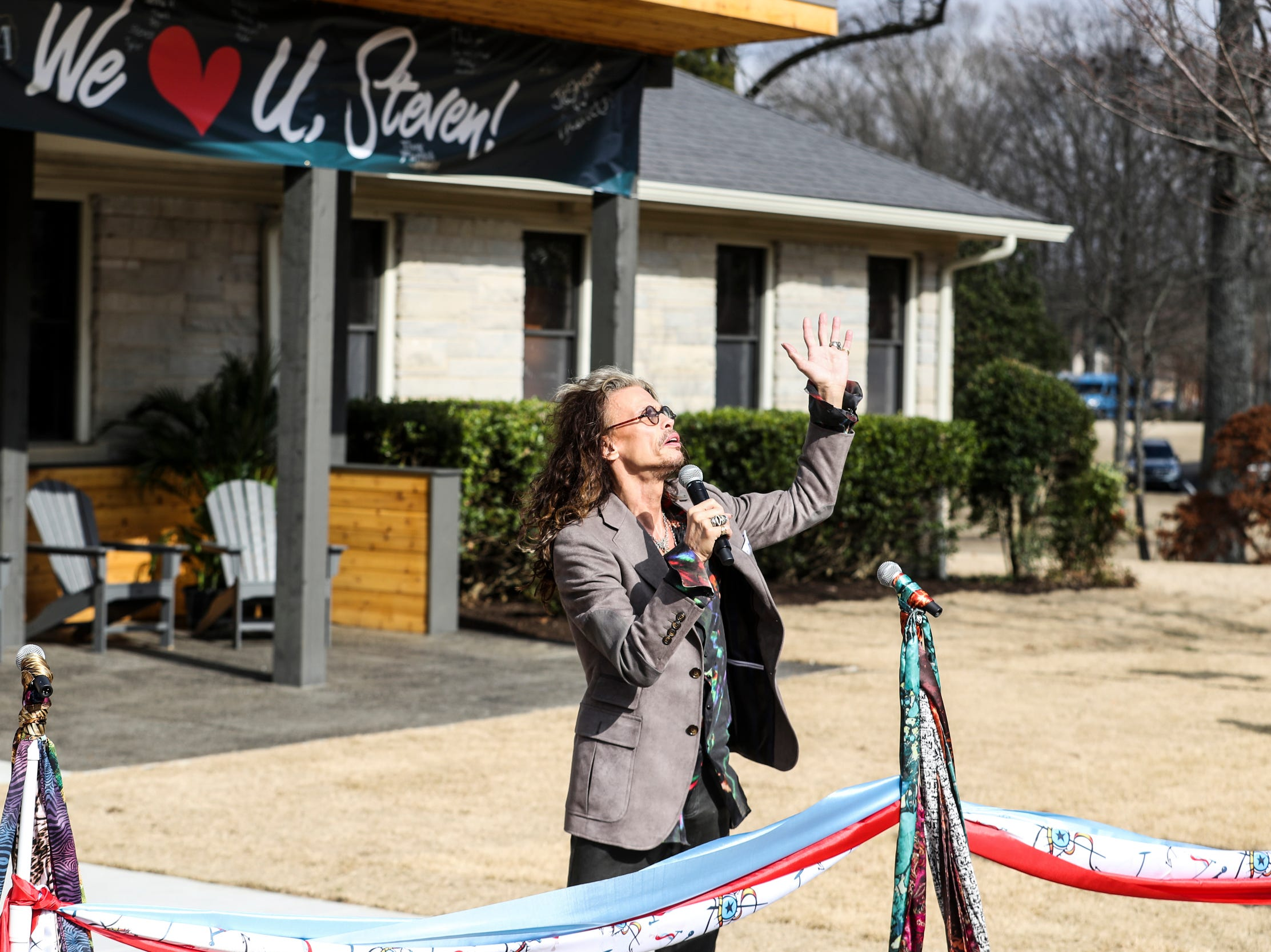 February 04 2019 - Steven Tyler speaks during a scarf-cutting celebration outside of Janie's House at Youth Villages in Bartlett. Janie's Fund paid for the renovations of the existing home for girls and Youth Villages renamed it a Janie's House.