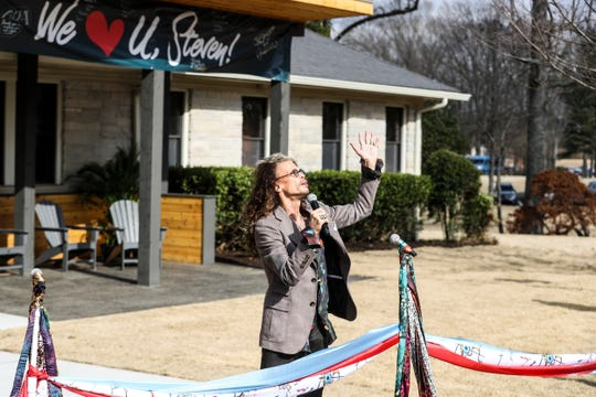 Steven Tyler speaks during a scarf-cutting celebration outside of Janie's House at Youth Villages in Bartlett on Feb. 4, 2019. Janie's Fund paid for the renovations of the existing home for girls and Youth Villages renamed it a Janie's House.