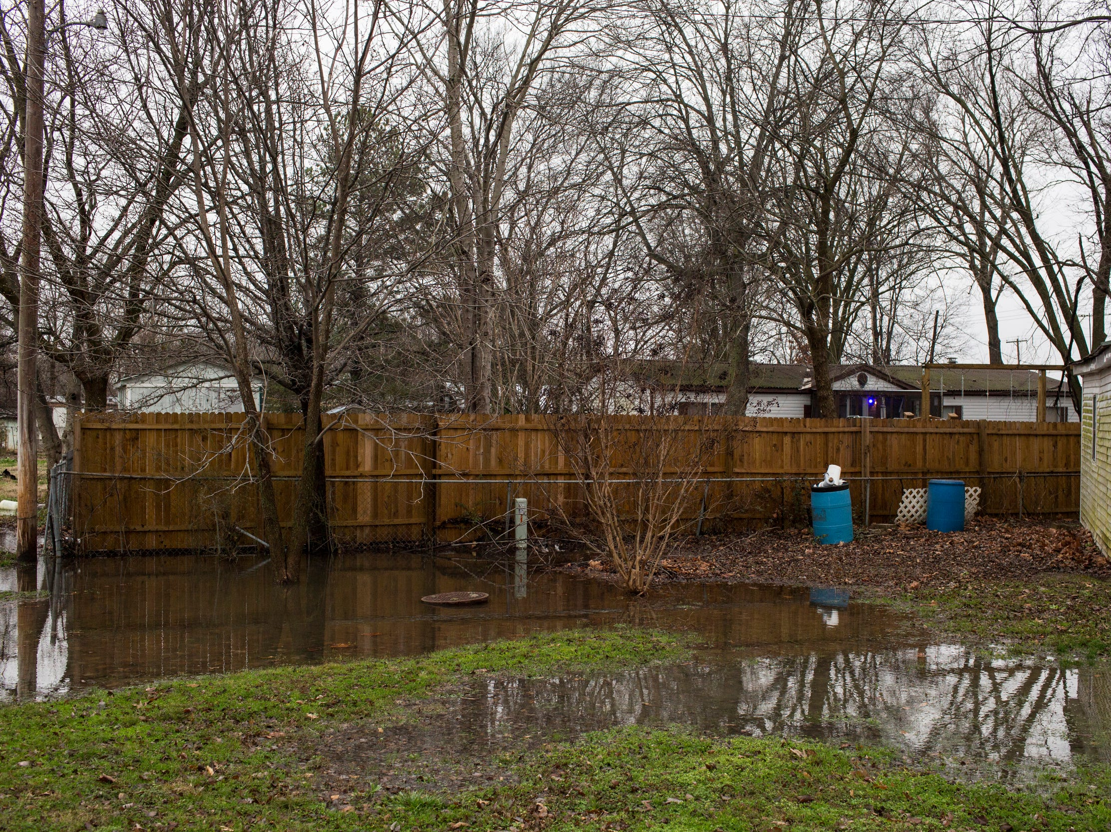 January 23, 2019 - Water from a recent rainfall is seen pooling throughout the Lakeshore community.
