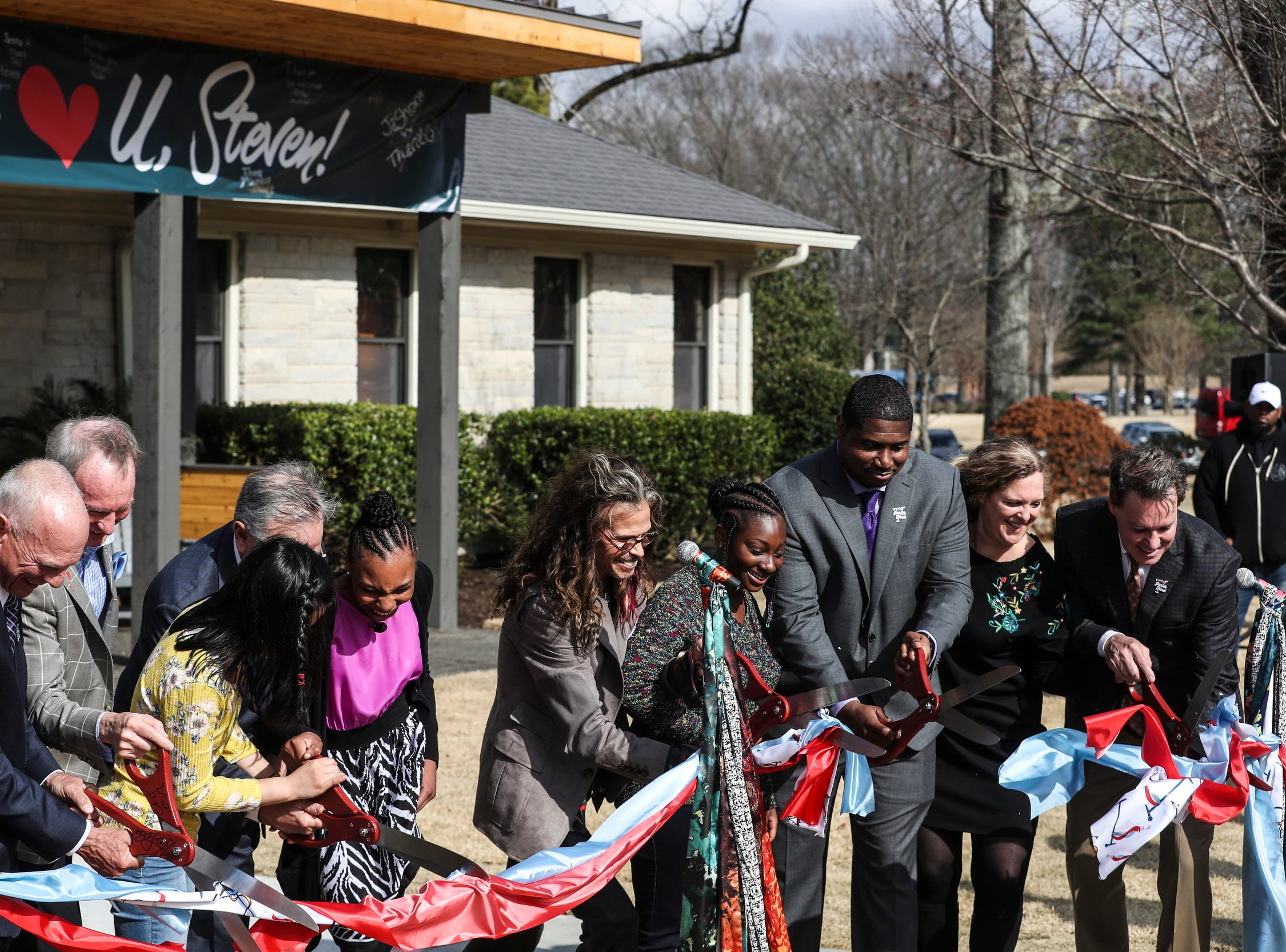 February 04 2019 - Scenes from the scarf-cutting celebration at Janie's House at Youth Villages in Bartlett. Janie's Fund paid for the renovations of the existing home for girls and Youth Villages renamed it a Janie's House.
